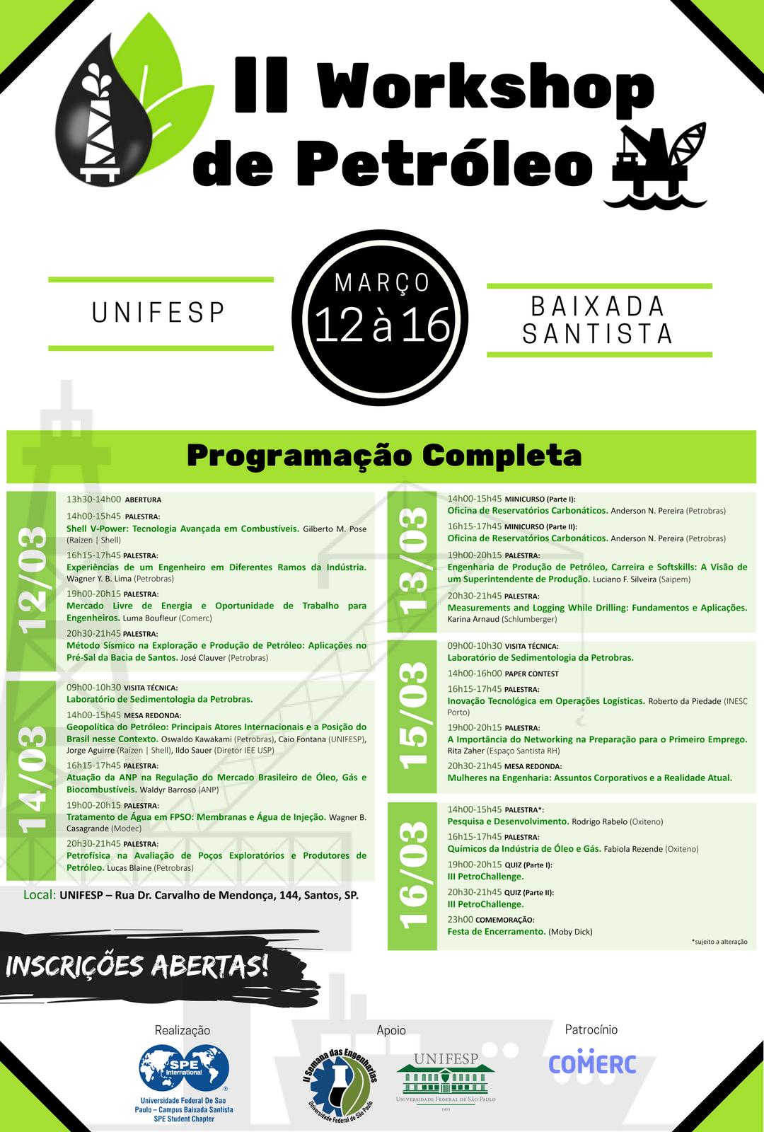 II Workshop de Petróleo da UNIFESP