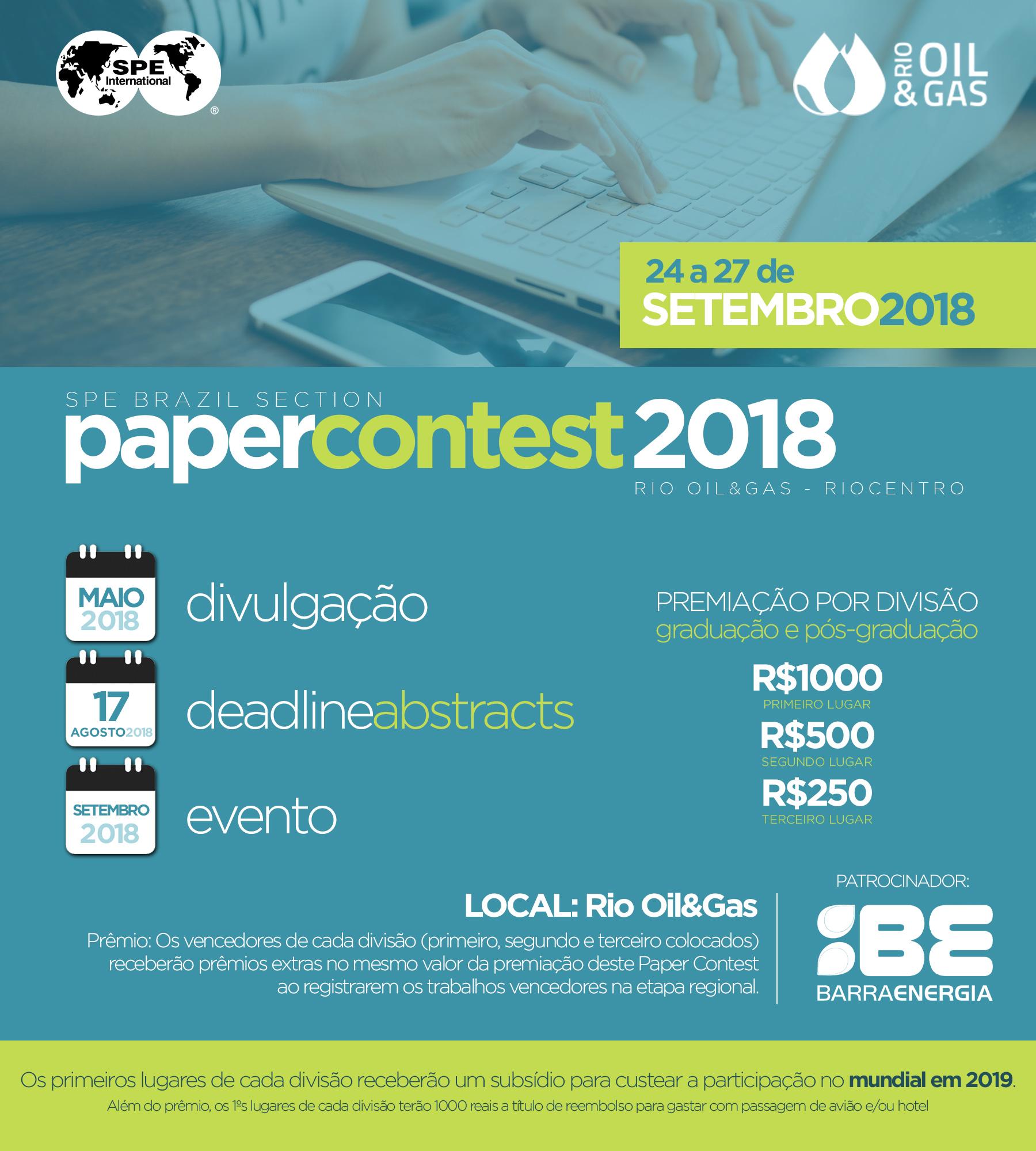 ATENÇÃO: STUDENT PAPER CONTEST 2018