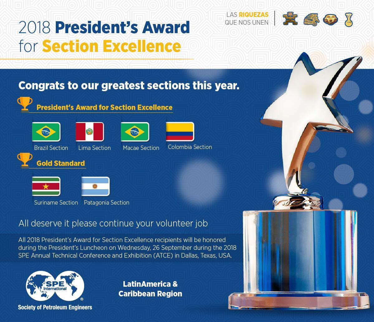 Premiação: '2018 President's Award for Section Excellence'