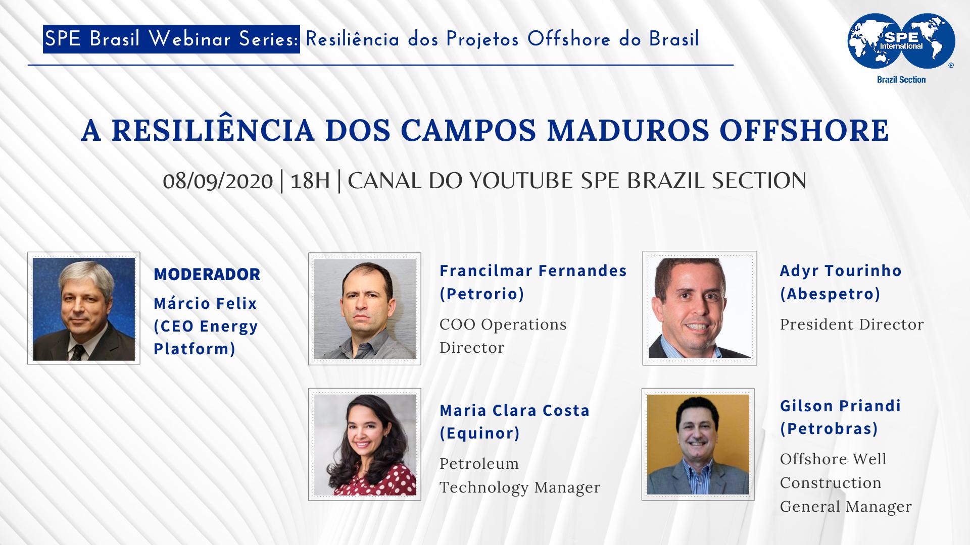 """#06 SPE Brasil Webinar Series: """"A resiliência dos campos maduros offshore"""""""