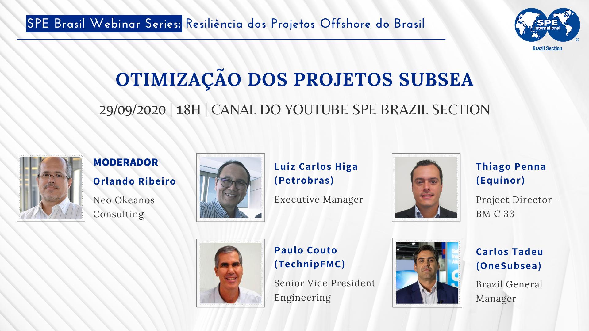 """#09 SPE Brasil Webinar Series: """"Otimização dos projetos Subsea"""""""