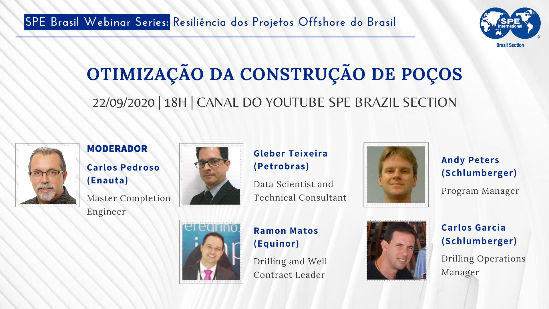 """#08 SPE Brasil Webinar Series: """" Otimização da construção de Poços"""""""