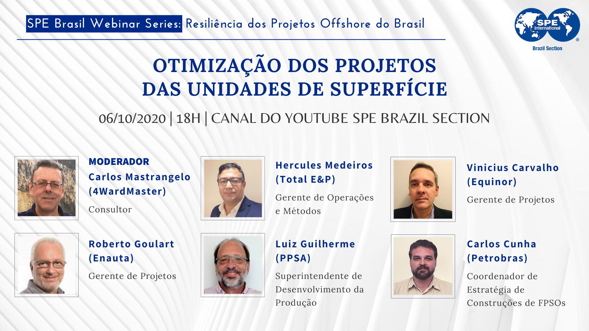 """#10 SPE Brasil Webinar Series: """"Otimização dos Projetos das Unidades de Superfície"""""""
