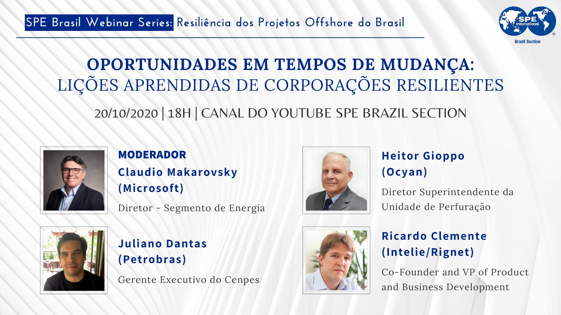 """#12 SPE Brasil Webinar Series: """"Oportunidades em tempos de mudança: lições aprendidas de corporações resilientes"""""""